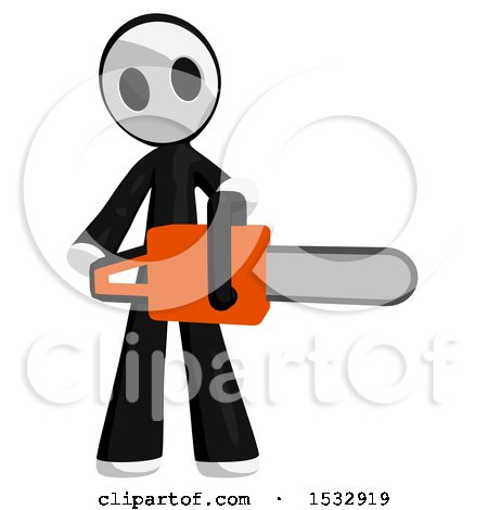 Clipart of a Maskman Holding a Chainsaw - Royalty Free Illustration by Leo Blanchette
