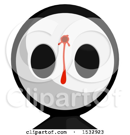Clipart of a Maskman Avatar Shot and Bleeding in the Head - Royalty Free Illustration by Leo Blanchette