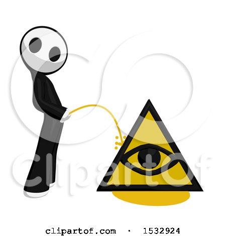 Maskman Pissing on an Illuminati Symbol Posters, Art Prints