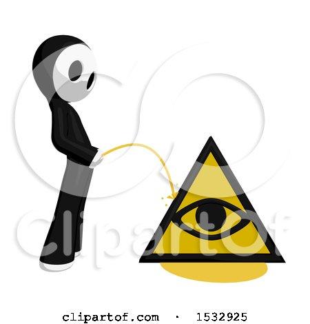 Clipart of a Maskman Pissing on an Illuminati Symbol - Royalty Free Illustration by Leo Blanchette