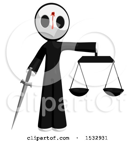 Clipart of a Maskman Bleeding and Shot in the Forehead, Holding a Sword Justice Scales - Royalty Free Illustration by Leo Blanchette