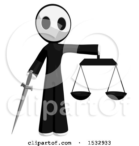 Clipart of a Maskman Holding a Sword and Justice Scales - Royalty Free Illustration by Leo Blanchette