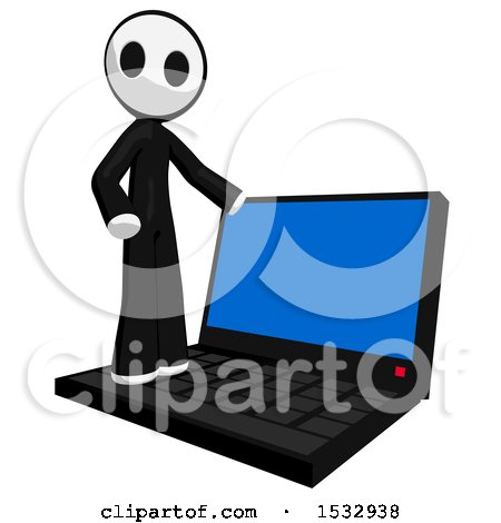 Clipart of a Maskman on a Giant Laptop - Royalty Free Illustration by Leo Blanchette