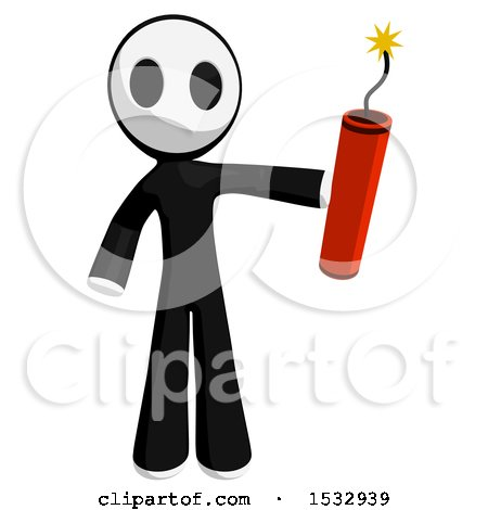 Clipart of a Maskman Holding Dynamite - Royalty Free Illustration by Leo Blanchette