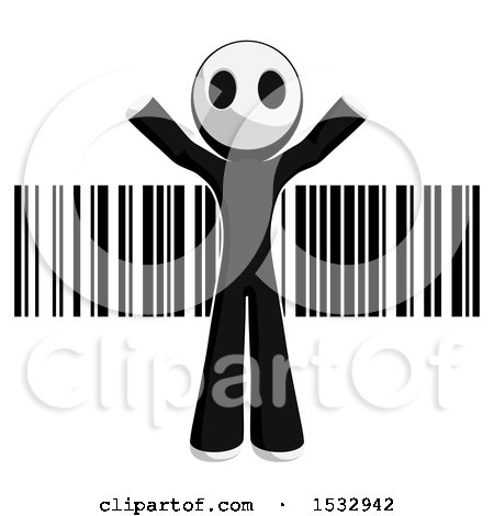 Clipart of a Maskman over a Barcode - Royalty Free Illustration by Leo Blanchette