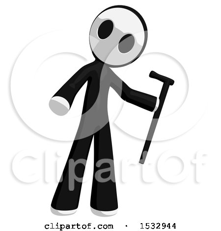 Clipart of a Maskman Holding a Cane - Royalty Free Illustration by Leo Blanchette