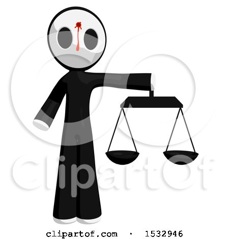 Clipart of a Maskman Bleeding and Shot in the Forehead, Holding Justice Scales - Royalty Free Illustration by Leo Blanchette