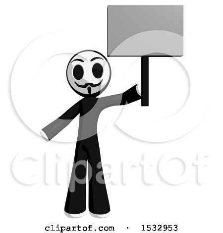 Clipart of a Little Anarchist Protesting and Holding a Blank Sign - Royalty Free Illustration by Leo Blanchette