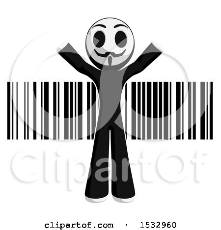 Clipart of a Little Anarchist over a Barcode - Royalty Free Illustration by Leo Blanchette