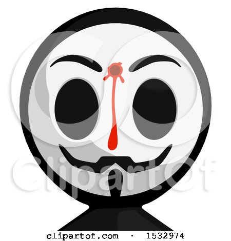 Clipart of a Bleeding and Shot Little Anarchist Avatar - Royalty Free Illustration by Leo Blanchette