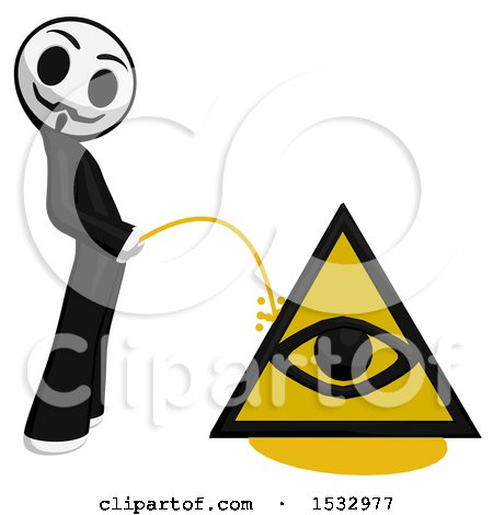 Clipart of a Little Anarchist Pissing on an Illuminati Symbol - Royalty Free Illustration by Leo Blanchette