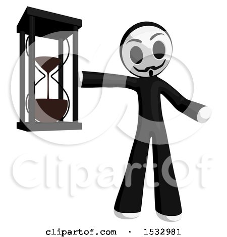 Clipart of a Little Anarchist Holding an Hourglass - Royalty Free Illustration by Leo Blanchette