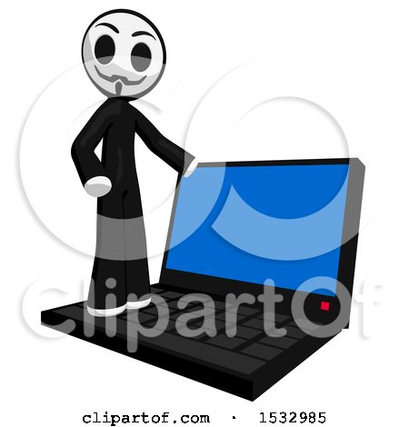 Clipart of a Little Anarchist on a Laptop Computer - Royalty Free Illustration by Leo Blanchette