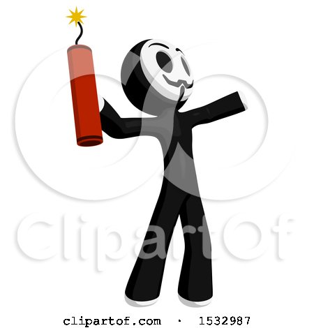 Clipart of a Little Anarchist Holding a Stick of Dynamite - Royalty Free Illustration by Leo Blanchette
