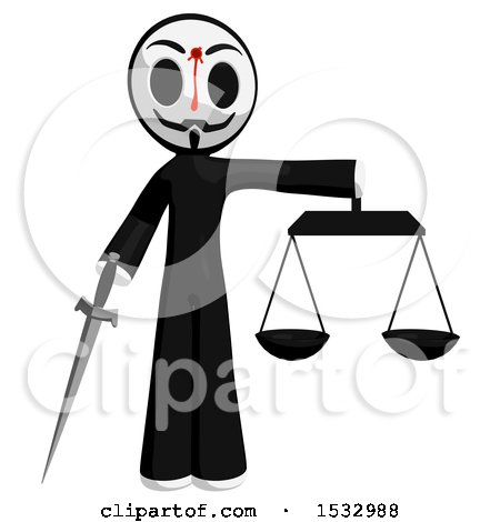 Clipart of a Little Anarchist with a Bleeding Shot in the Forehead, Holding a Sword and the Scales of Justice - Royalty Free Illustration by Leo Blanchette