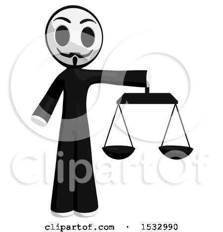 Clipart of a Little Anarchist Holding the Scales of Justice - Royalty Free Illustration by Leo Blanchette