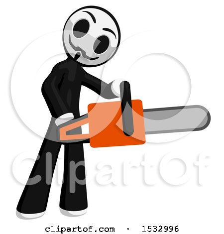 Clipart of a Little Anarchist Holding a Chainsaw - Royalty Free Illustration by Leo Blanchette