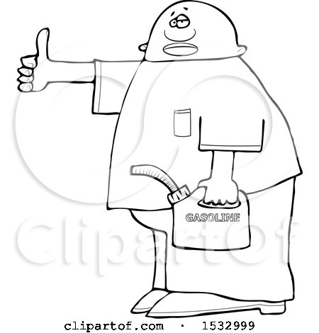 Clipart of a Lineart Man Holding a Gas Can and Hitchhiking - Royalty Free Vector Illustration by djart