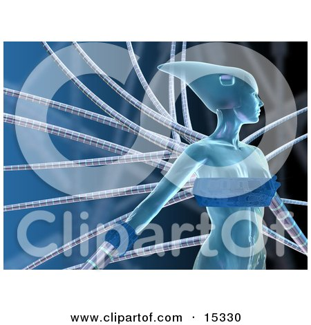 Blue Futuristic Human Female Or Alien Connected To Cables And Looking To The Right Clipart Illustration Image