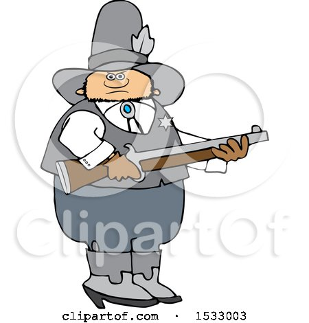 Clipart of a White Male Sheriff Holding a Rifle - Royalty Free Vector Illustration by djart
