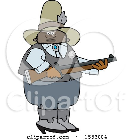 Clipart of a Black Male Sheriff Holding a Rifle - Royalty Free Vector Illustration by djart