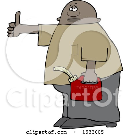 Clipart of a Black Man Holding a Gas Can and Hitchhiking - Royalty Free Vector Illustration by djart