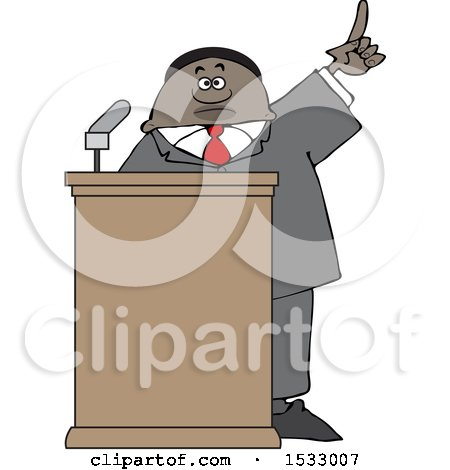 Clipart of a Black Male Politician Holding up a Finger at a Podium - Royalty Free Vector Illustration by djart