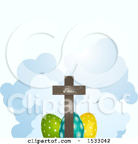 Clipart of a Wooden Cross over Easter Eggs and Clouds - Royalty Free Vector Illustration by elaineitalia