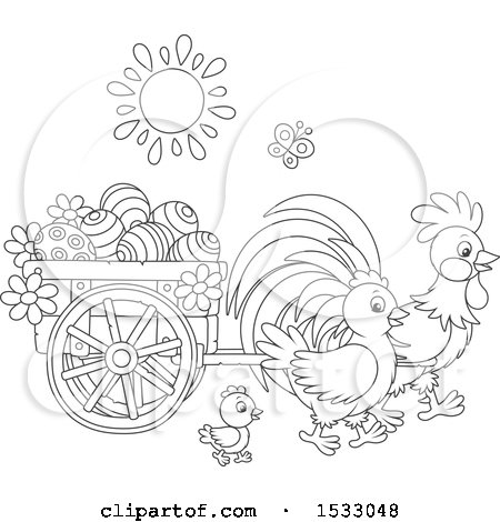 Black and White Family of Chickens with a Cart of Easter Eggs Posters, Art Prints