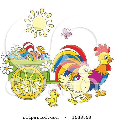 Family of Chickens with a Cart of Easter Eggs Posters, Art Prints
