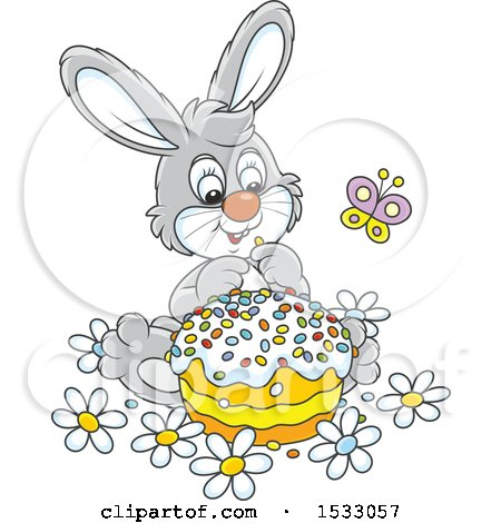 Clipart of a Cute Gray Bunny Rabbit with an Easter Cake - Royalty Free Vector Illustration by Alex Bannykh