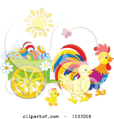 Sun Shining on Chickens with a Cart of Easter Eggs Posters, Art Prints