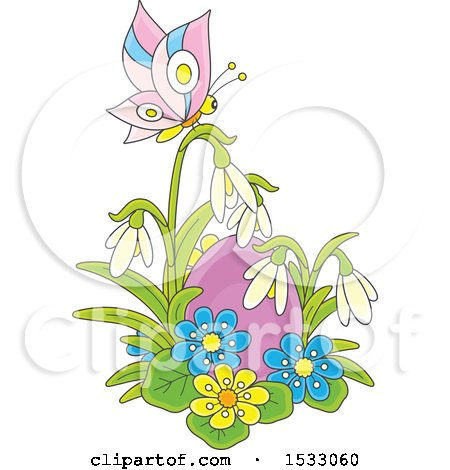 Clipart of a Purple Easter Egg with Spring Flowers and a Butterfly - Royalty Free Vector Illustration by Alex Bannykh