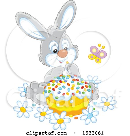 Clipart of a Cute Gray Bunny with an Easter Cake - Royalty Free Vector Illustration by Alex Bannykh