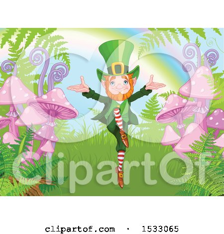 Clipart of a Happy Leprechaun Dancing by Ferns and Mushrooms at the End of a Rainbow - Royalty Free Vector Illustration by Pushkin