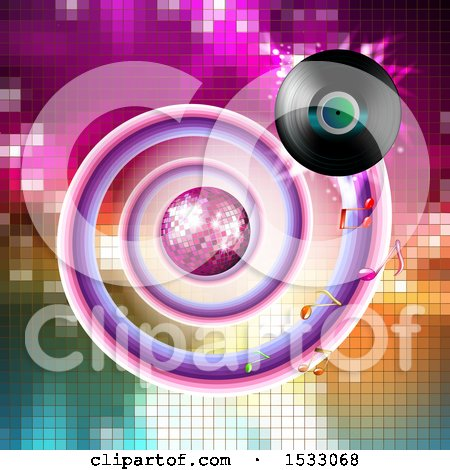 Clipart of a Vinyl Record Spiraling Around a Disco Ball on Mosaic - Royalty Free Vector Illustration by merlinul