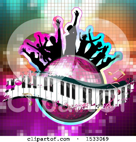 Clipart of a Group of Silhouetted People on a Pink Disco Ball and Music Keyboard Wave with Notes on Mosaic - Royalty Free Vector Illustration by merlinul