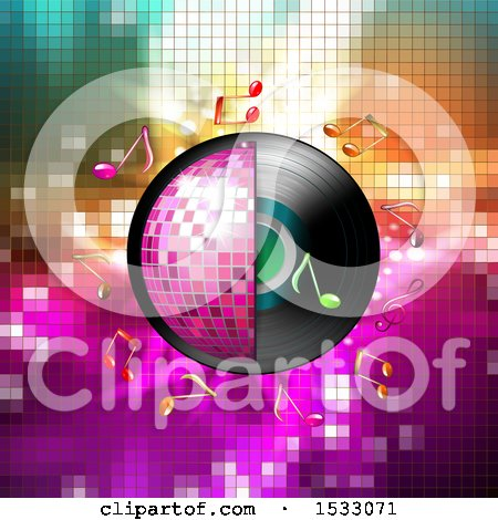 Clipart of a Half Pink Disco Ball and Vinyl Record with Music Notes over Mosaic - Royalty Free Vector Illustration by merlinul