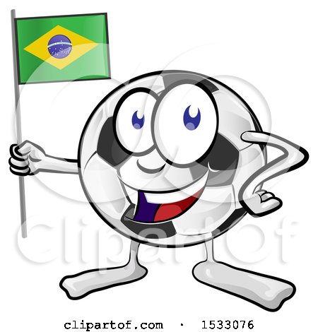 Clipart of a Soccer Ball Mascot Character Holding a Brazilian Flag - Royalty Free Vector Illustration by Domenico Condello