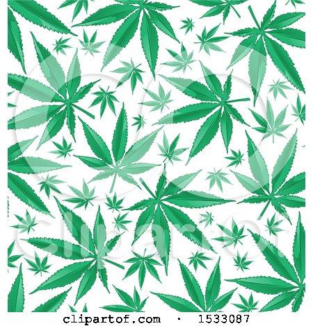 Clipart of a Green Marijuana Pot Leaf Background - Royalty Free Vector Illustration by Domenico Condello