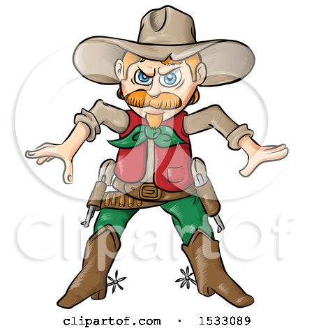 Clipart of a Cowboy Ready to Draw His Pistols - Royalty Free Vector Illustration by Domenico Condello