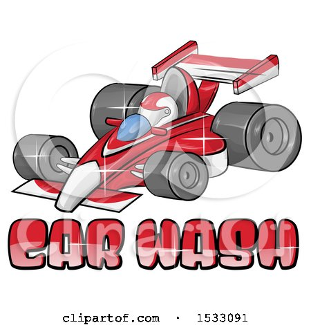 Clipart of a Red Forumla One Race Car over Car Wash Text - Royalty Free Vector Illustration by Domenico Condello