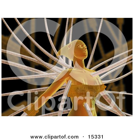 Orange Futuristic Human Female Or Alien Connected To Cables Clipart Illustration Image