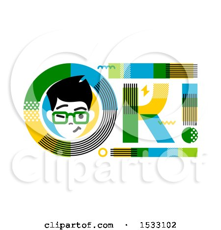 Clipart of a Winking Man in an OK Design - Royalty Free Vector Illustration by elena