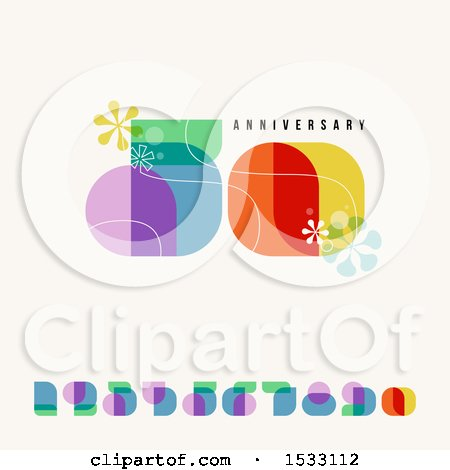Clipart of a Happy 50th Anniversary Design with Retro Numbers, on Beige - Royalty Free Vector Illustration by elena