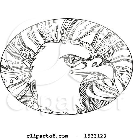 Clipart of a Zentangle Bald Eagle Head in an Oval, Black and White - Royalty Free Vector Illustration by patrimonio