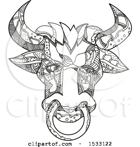 Clipart of a Zentangle Pinzgauer Bull Head, Black and White - Royalty Free Vector Illustration by patrimonio