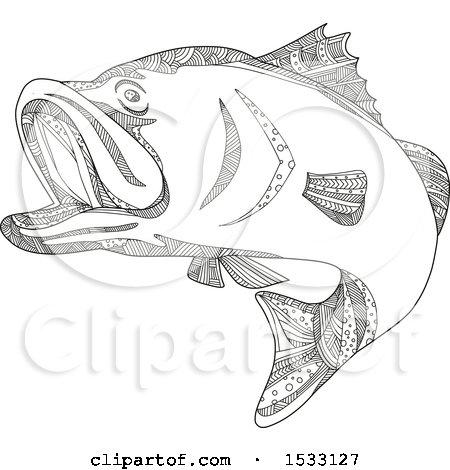 Clipart of a Zentangle Barramundi Sea Bass, Black and White - Royalty Free Vector Illustration by patrimonio