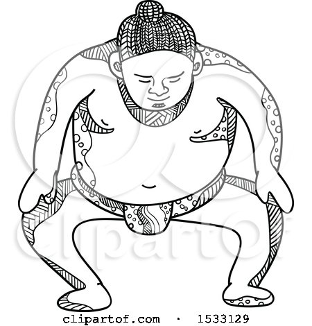 Clipart Of A Zentangle Sumo Wrestler Stomping Black And White