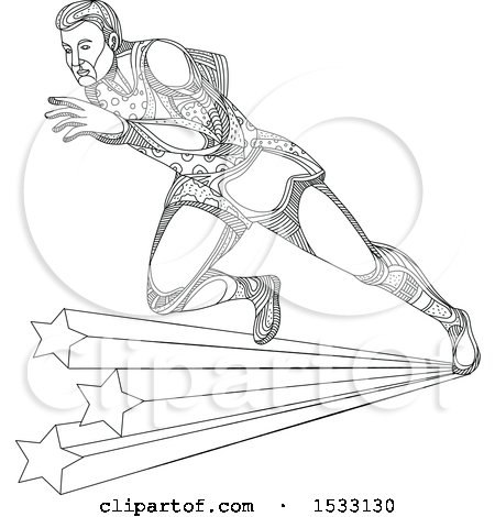 Clipart of a Zentangle Track and Field Athlete Sprinting over Stars, Black and White - Royalty Free Vector Illustration by patrimonio